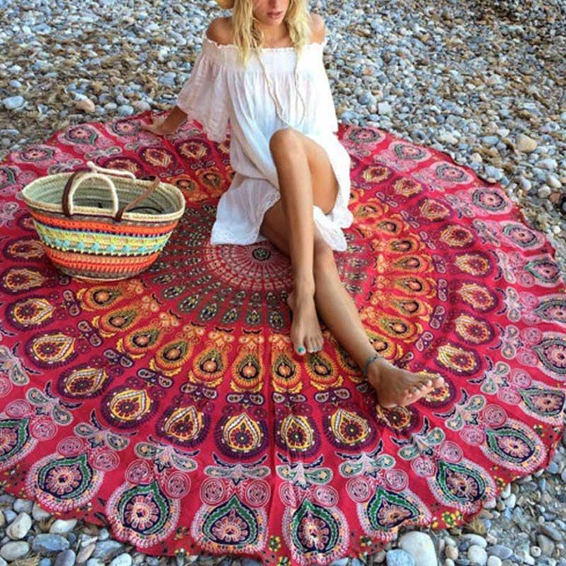 Creative Colorful Bohemia Scarve Mandala Tapestry Round Mat Beach Picnic Throw Rug Blanket Grassplot Mats LXY9 MY1218