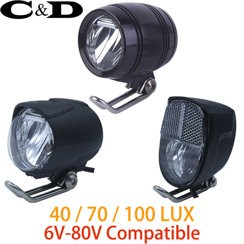 6V-80V 24V 36V 48V 60V Universal Compatible 1W 2W 3W 40 70 100 LUX Bike Electric bicycle E-bike Headlight Front Light Headlamp