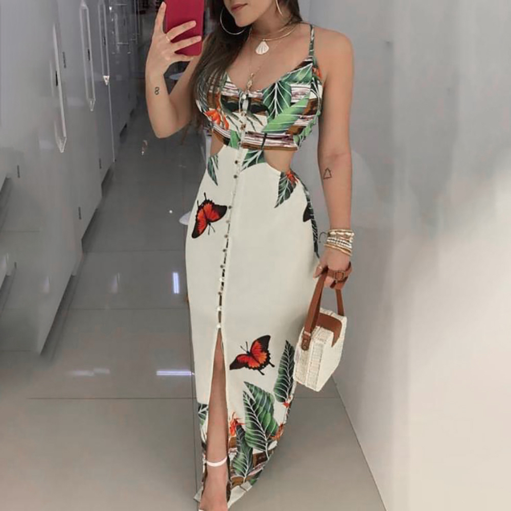 2019 New Sexy Floral Dress Women Hollow Out Spaghetti Strapless Flower Printed Dress Sleeveless Boho Style Maxi Dress For Party
