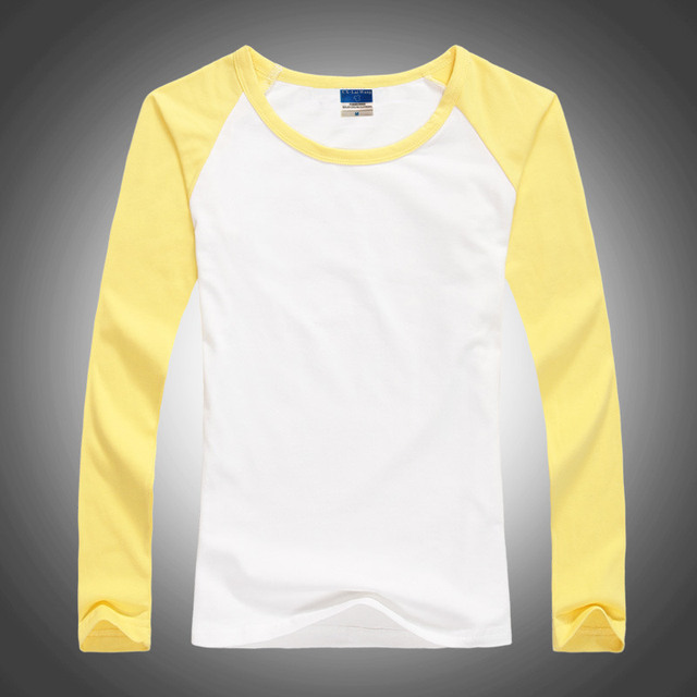 Free Shipping Lady O-Neck Lycra Cotton Patchwork tshirt Slim Tops Women Fashion Punk Long Sleeve T Shirts