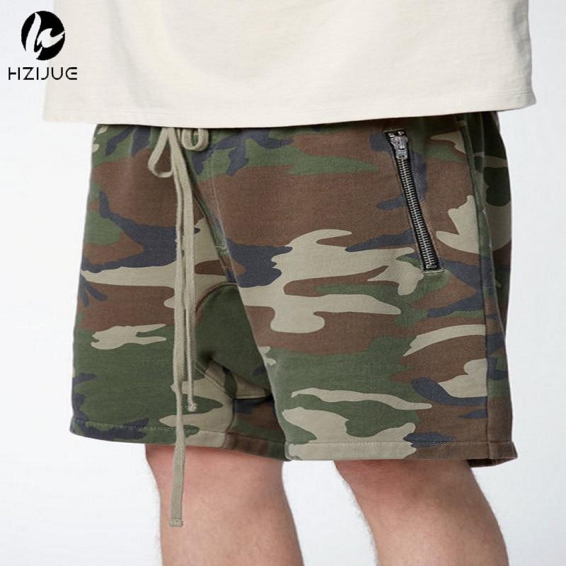 HZIJUE streetwear coréen court armée porter militaire camouflage survêtement slim fit décontracté justin bieber sweat hommes shorts