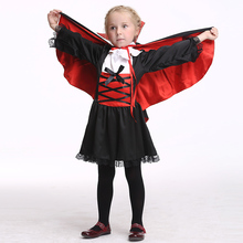 цена Vampire Costume Suit Costumes Children Vampire Cloak Cosplay Girls Clothing Halloween Costume EK168 онлайн в 2017 году