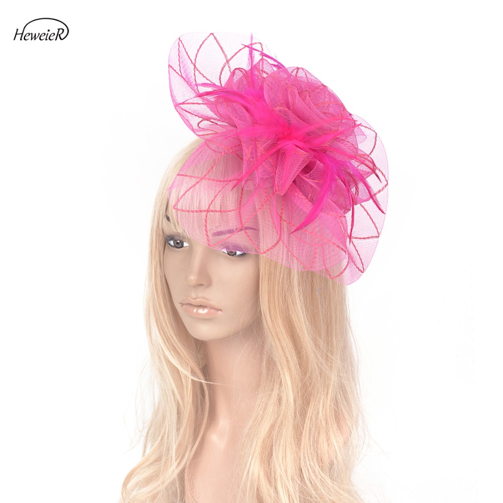 Yellow Feather Fascinator Hair Clip Ladies Day Races Party Wedding
