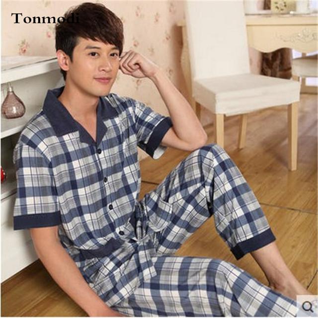 Pijamas de Los Hombres de Verano de Manga Corta + Pantalones Pijamas de Algodón Pijama A Cuadros Hombres De Bambú Salón Más tamaño Pijamas Set 4XL