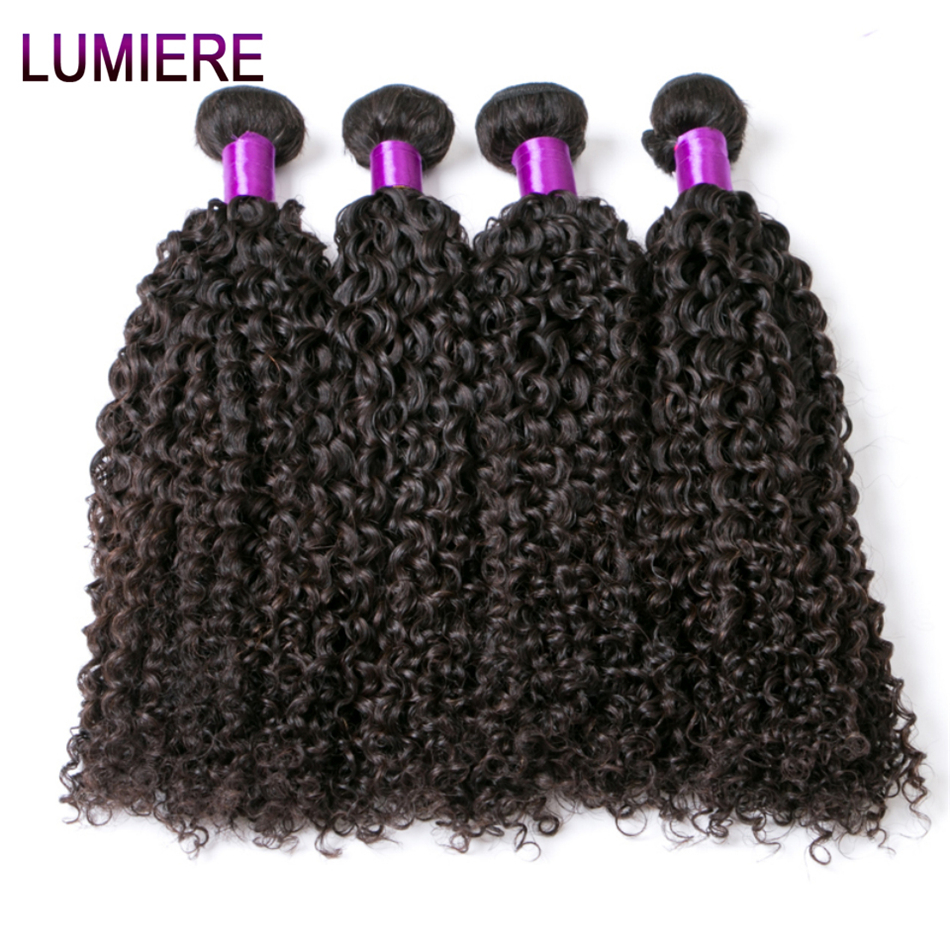 Brazilian Kinky Curly Hair 100% Human Hair 4 Bundles Hair Extension Natural Color Non-Remy Lumiere Hair Products Free Shipping