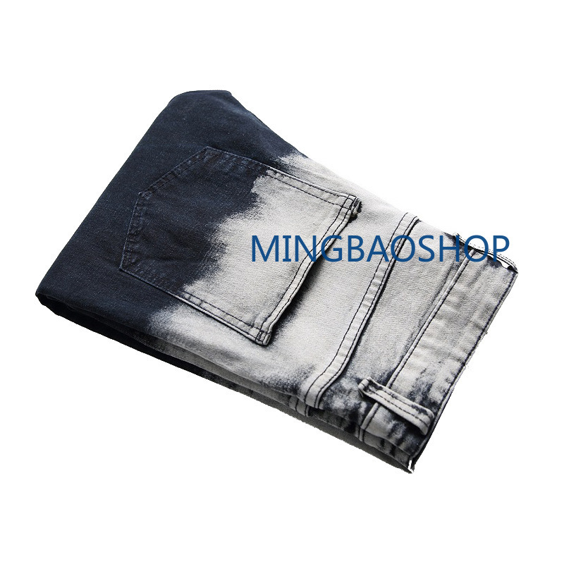 2019 nostalgic jeans mens hole color matching patch decoration tide pants stretch jeans for men high quality men clothes in Jeans from Men 39 s Clothing