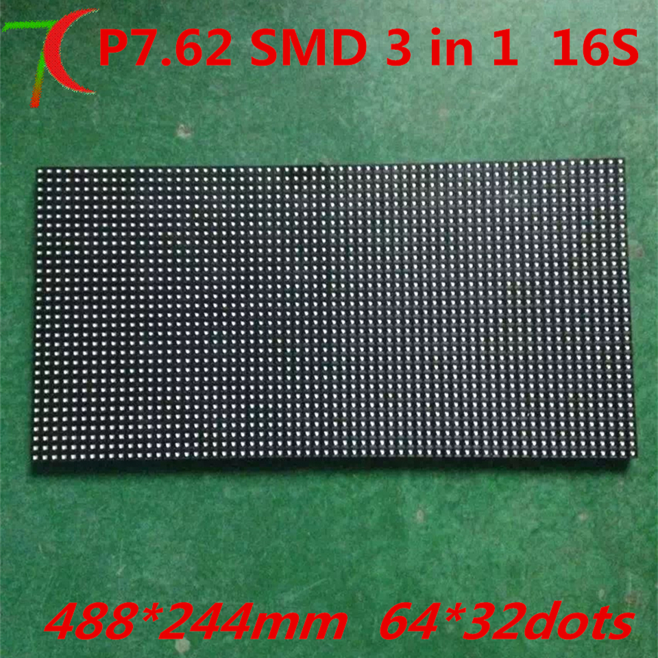 P7.62 Rgb Indoor Smd Dot Matrix 488*244mm Full Color Led Panel For Led Display Video Wall ,17222dots/sqm