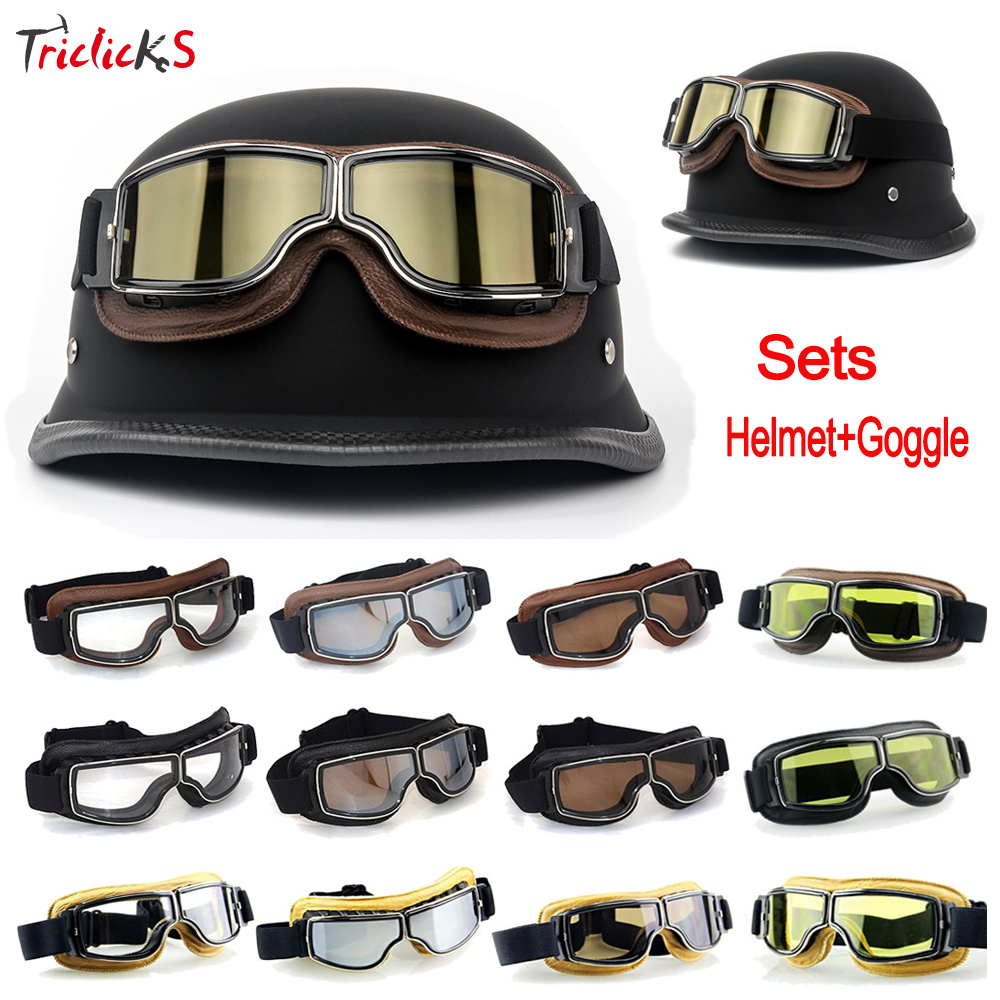 Triclicks Glossy/Dark Black Half Face Helmet+Scooter Goggles Motorcycle Street Half Helmets Protect Gear Glasses Leather Goggles