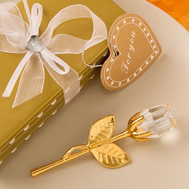 18pcs Lot FREE SHIPPING Choice Crystal Gold and Clear Crystal Long Stem Rose Wedding Bridal