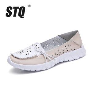 Image 2 - STQ 2020 yaz kadın Flats hakiki deri ayakkabı bale daireler üzerinde kayma balerinler Flats kadın Moccasins düz loafer ayakkabılar 7737