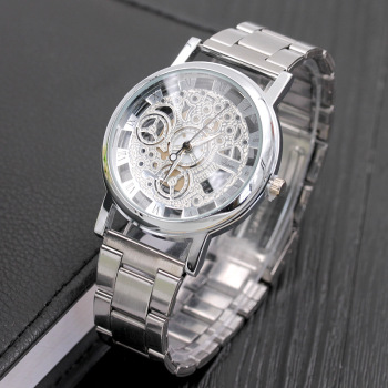 2018 New Fashion Quartz watch Men  Brand Stainless steel Watch transparent Hollow Watches Imitation Mechanical Clock watches