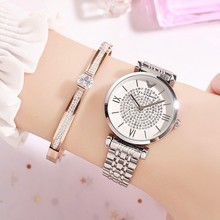 New Fashion Women Watches Rose Gold Dress Watch Stainless Steel Crystal Ladies Woman Clocks relojes para mujer 2019