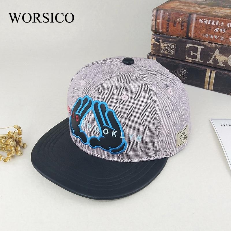 WORSICO New Style Street Pink Hip Hop Cap Double Hands Snapback Caps Fashion Trend Flat Gorras Adjustable Men Women Baseball Cap