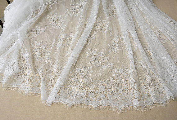 3 yards off white chantilly lace fabric, french wedding lace fabric with eyelash scalloped border, bridal lace fabric