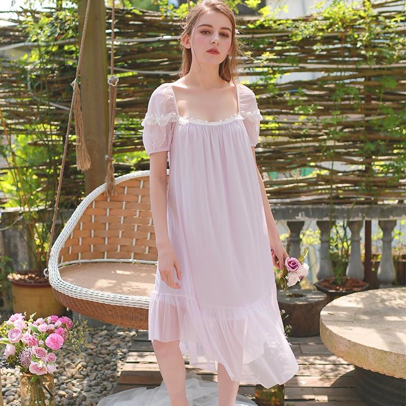 Victorian Vintage Summer Spring Short Sleeve   Nightgown   Sweet Princess Mesh Homewear Lace Soft Sleepwear   Sleepshirts