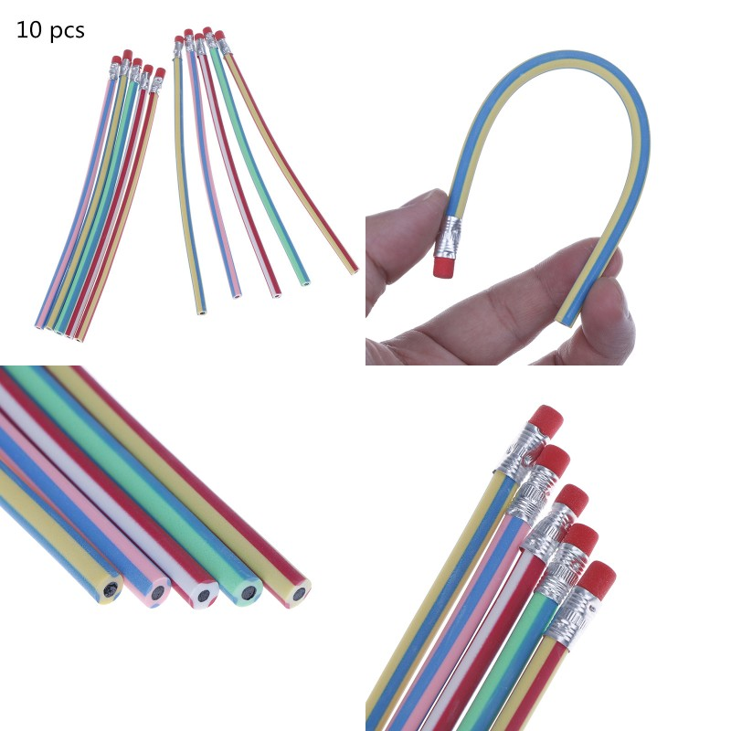 10pcs Bendy Flexible Soft Pencil With Eraser For Kids Writing School Studen NSER