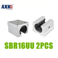 AXK 2pcs Lot SBR16 SBR16UU Linear Bearing Pillow Block 16mm Open Linear Bearing Slide Block CNC