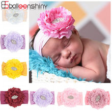 BalleenShiny Children's Nylon Hair Band Artificial Peony Flower Baby Headband for Girls Infant Newborn Photography Props Turban(China)