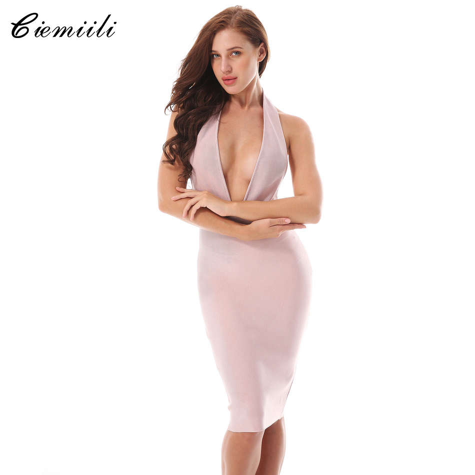 CIEMIILI Nuevo Verano 2018 Vestido de Mujer Sexy Cuello En V Sin - Ropa de mujer