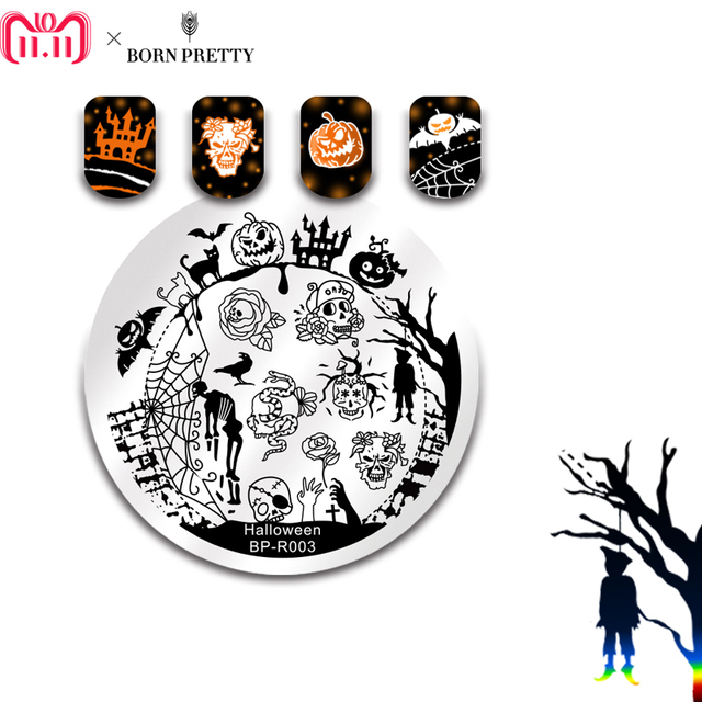 BORN PRETTY Halloween Arabesque Nail Art Stamp Template Geometry Arrow Full Lace Flower Nail Stamping Plates Manicure Tools