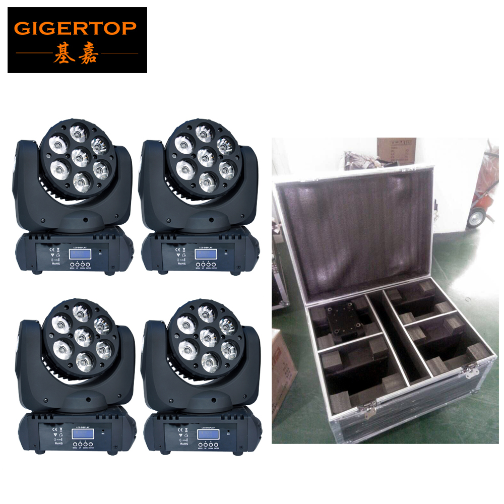 4-in-1 Road Case Packing with 4pcs/lot 7 12W LED Moving Head Event Disco Beam Lighting Big Eye 8 Degree Beam Theater Instrument