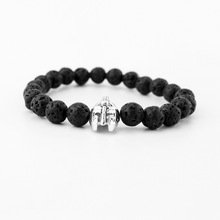 Silver  Gold Plated Roman Knight Spartan Warrior Gladiator Helmet Bracelet Men Black Matte Stone Bead Bracelets For Men Jewelry