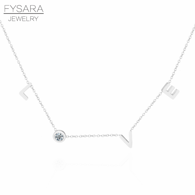 HTB1YcJ7X6nuK1RkSmFPq6AuzFXao - FYSARA Stainless Steel Round Crystal Pendants Necklace Couple Romantic Luxury LOVE Necklace for Women Choker Wedding Jewelry