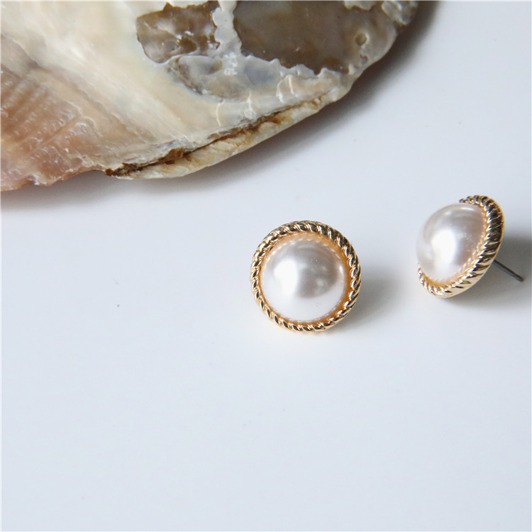 MENGJIQIAO 2019 Japan New Vintage Round Marble Opal Stone Big Stud Earrings For Women Fashion Temperament Simulated Pearl Brinco 3