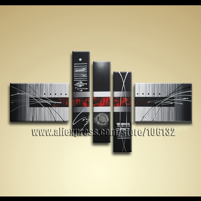 Framed 5 Panel Large Black White Red Canvas Painting Modern Abstract ...