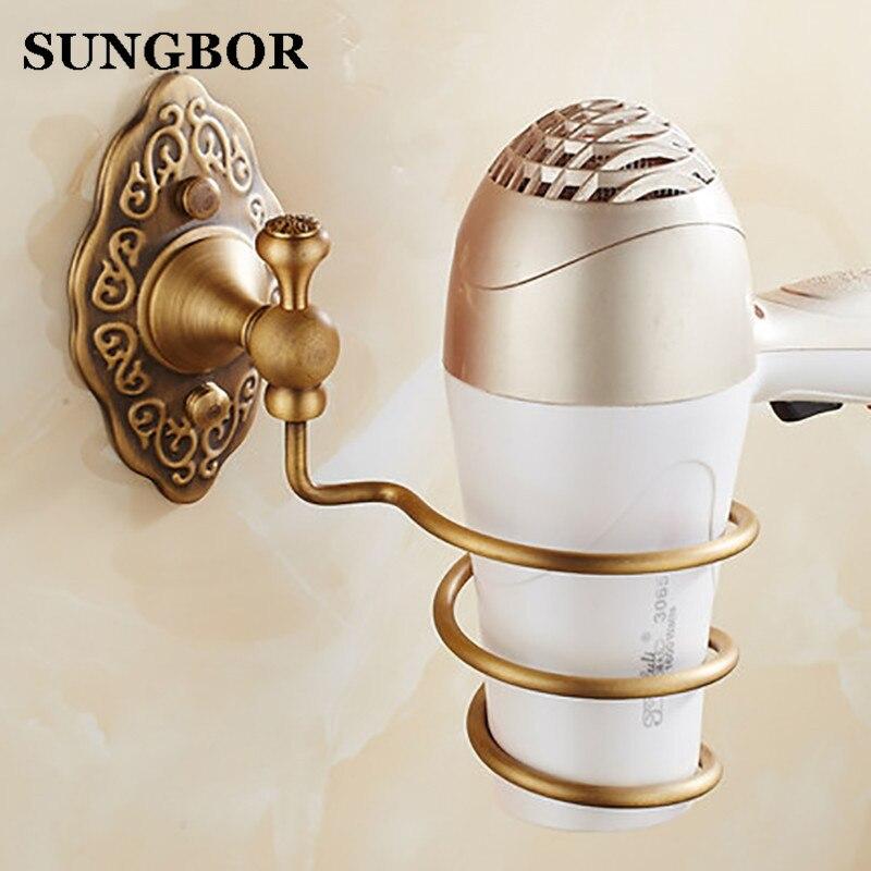 2017 Decoration Bathroom Accessories Antique Brass Hair Dryer Rack, Bolt Inserting Type Storage Hair Dryer Holder Shelf BE-ST04