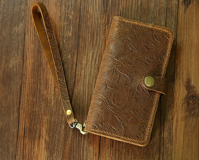 cheaper 7afdb 04fdb US $35.18 |Women embossing leather Wristlet iPhone XR plus wallet case  iPhone XR mobile wallet / leather iPhone XR Plus wallet case cover-in  Wallets ...