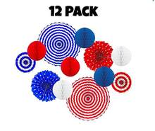 Patriotic Party Decor 12 Pack Paper Fan Honeycomb Balls Kids Party/Birthday/Party/Events Decor Home Decor Red Blue White(China)