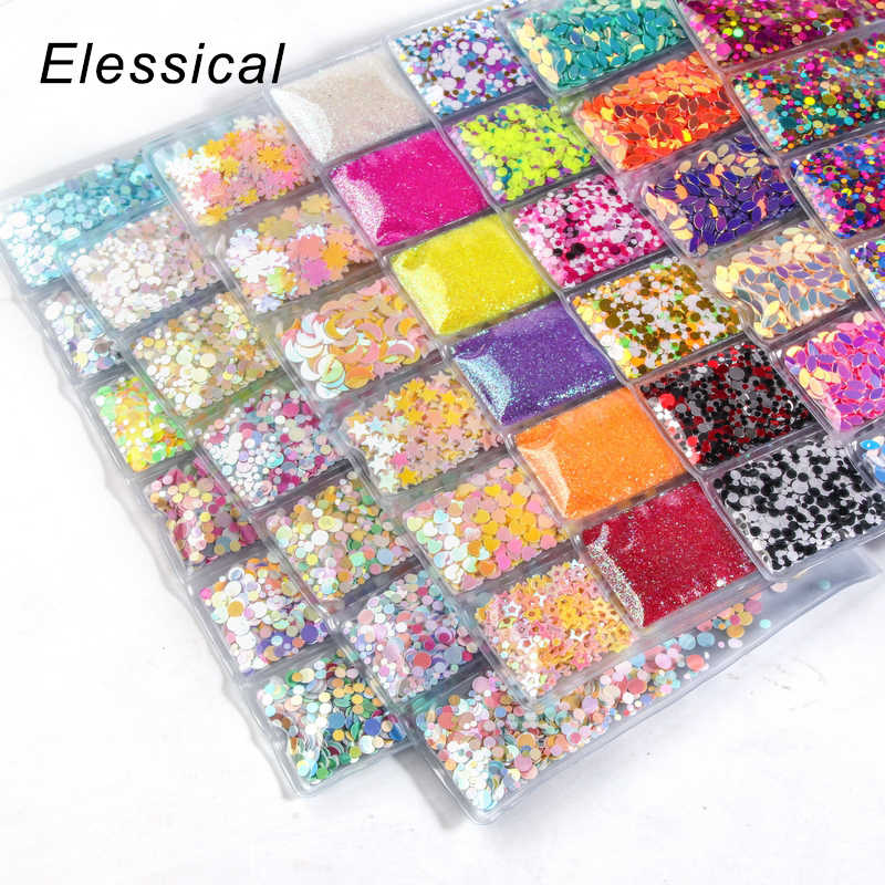 6 grid/bag Mixed Nagel Glitter Pulver Pailletten Bunte Nagel Flocken Aufkleber 3d DIY Nagel Sliders Staub Für Nagel kunst Dekorationen