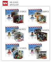 XB 01401 6Pcs Lot Building Block Bricks Household Decoration Series Educational BABY Toys Children Gift
