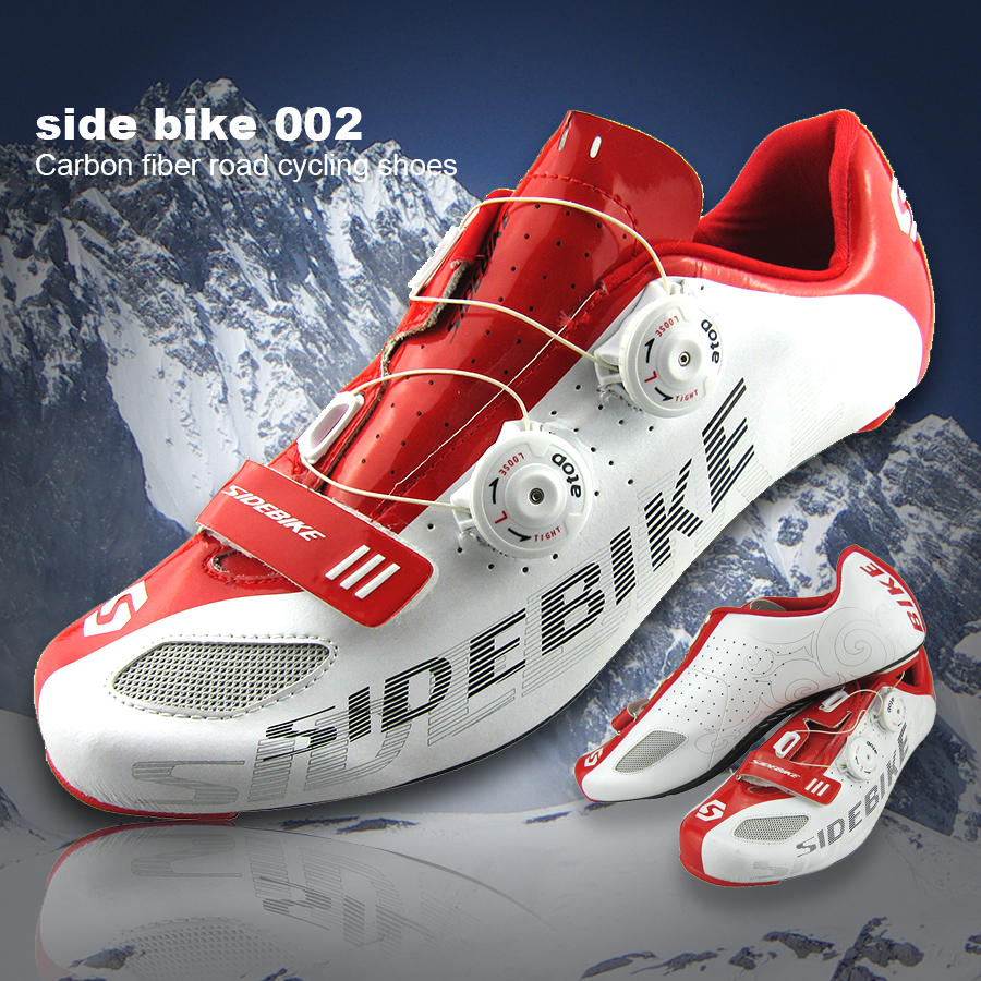 2016 Hot Sidebike Carbon Fiber Road Cycling Shoes Mens Outdoor Sport Bike Bicycle Sneaker Self-locking Road Bike Shoes Carbon