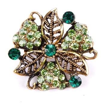 baiduqiandu Retro Antique Gold Color Plated Crystal Rhinestones Flower Pins and Brooches 1