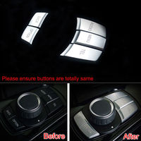 Chrome Center Console MultiMedia Button Cover Trim Interior Decor Car Styling Sticker ABS Car Covers For