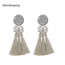 STRATHSPEY Handmade Resin Beads Tassel Earrings For Women Vintage Druzy  Fringe Drop Earring Fashion Jewelry Accessories