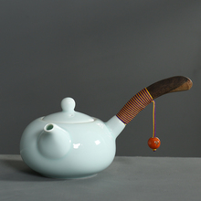 Hand Made Japanese Style Celadon Teapots Ceramic Kung Fu Tea Set With Wooden Handle Chinese Porcelain Chinaware Kettle