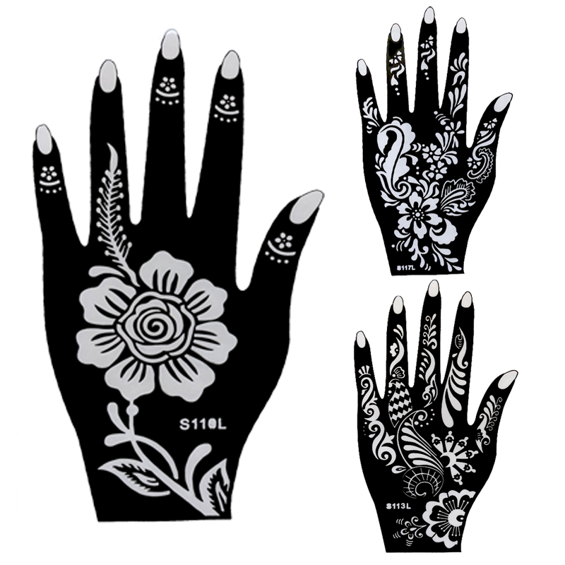 10pcs large henna tattoo stencils flower glitter airbrush for Henna temporary tattoo stencils