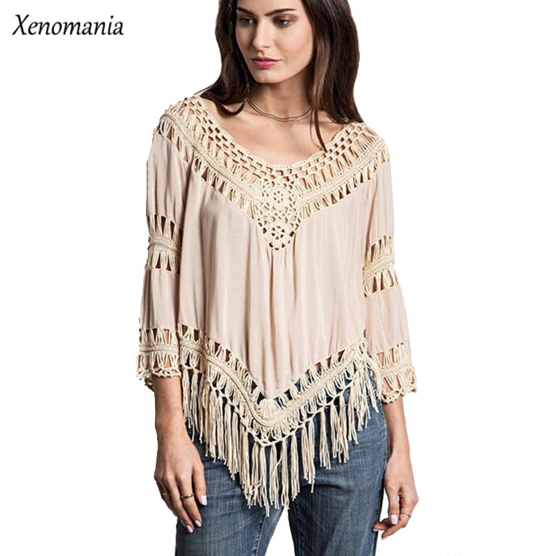 Kimono Boho Crochet Blouse Women Blouses Hippie Tops Cheap -4173