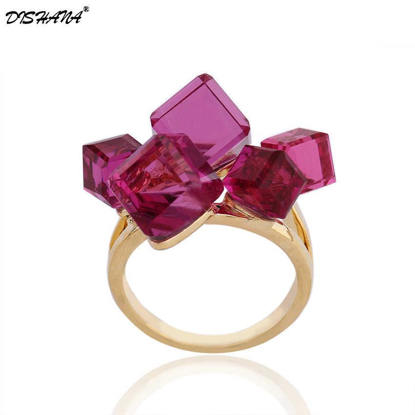 Большое кольцо золотого цвета с прозрачным камнем Размер 2 шт 8 мм + 3 шт 6 мм прозрачное и высококачественное кольцо из кубического циркония навсегда KA0014-4