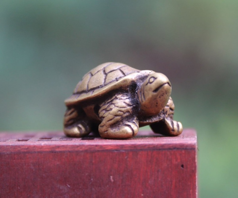 4 CM Chinese Pure Bronze Amulet Tortoise Turtle Wealth Fengshui Animal sculpture