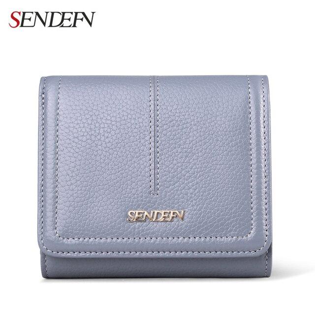Sendefn 2017 Small Genuine Leather Women Wallet Lady Short Pocket Wallet Purse Card Holder Phone Wallet Women Money Bag