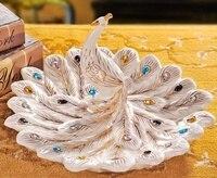 Luxuriöse Porzellan Pfau Figur Süßigkeiten und Obst Platte Dekorative Keramik Phoenix Handwerk Ornament Zubehör Einrichtungs