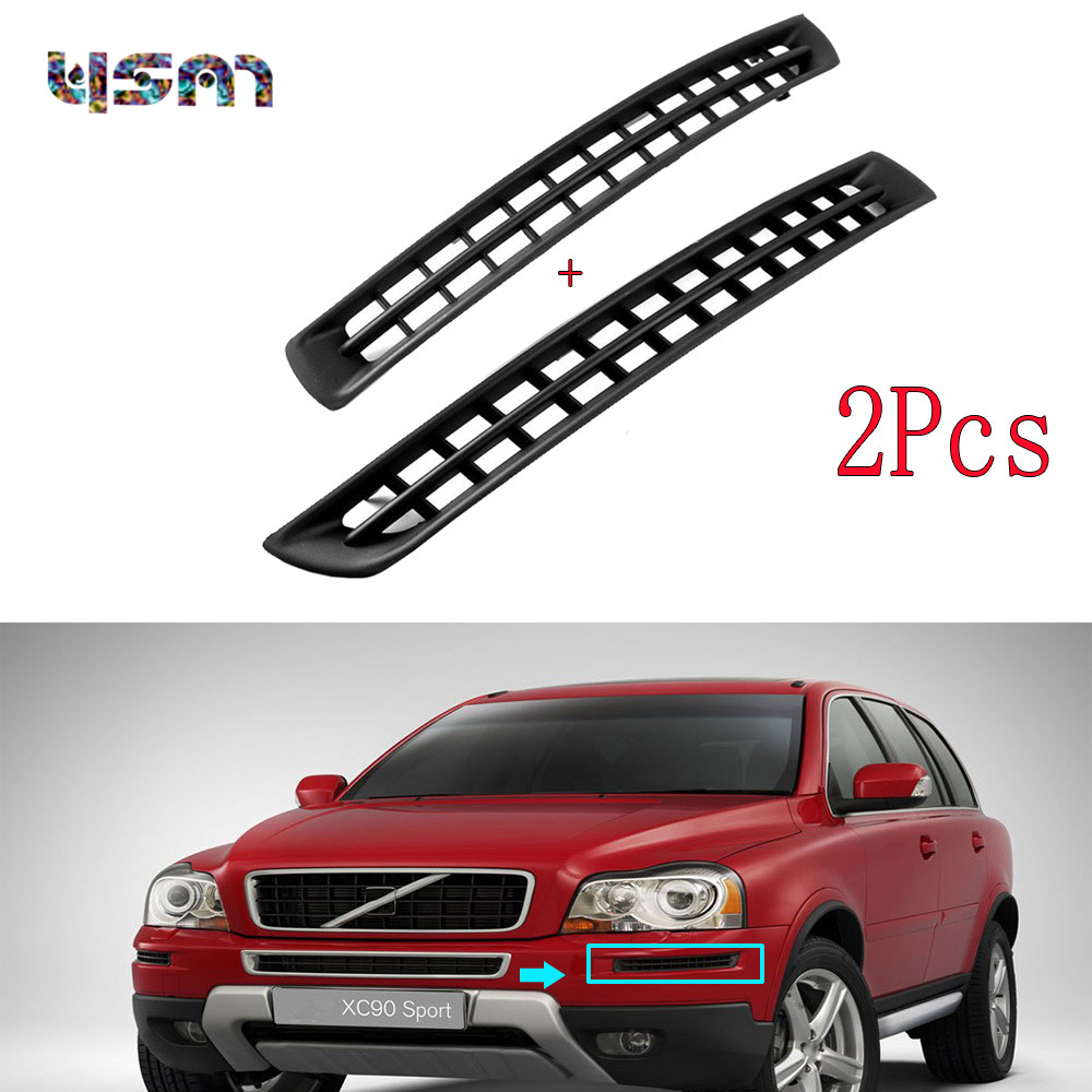 New Pair Bumper Plastic Grille Cover Left +Right Front Black for VOLVO XC90 2007-2014 30678953 30678954