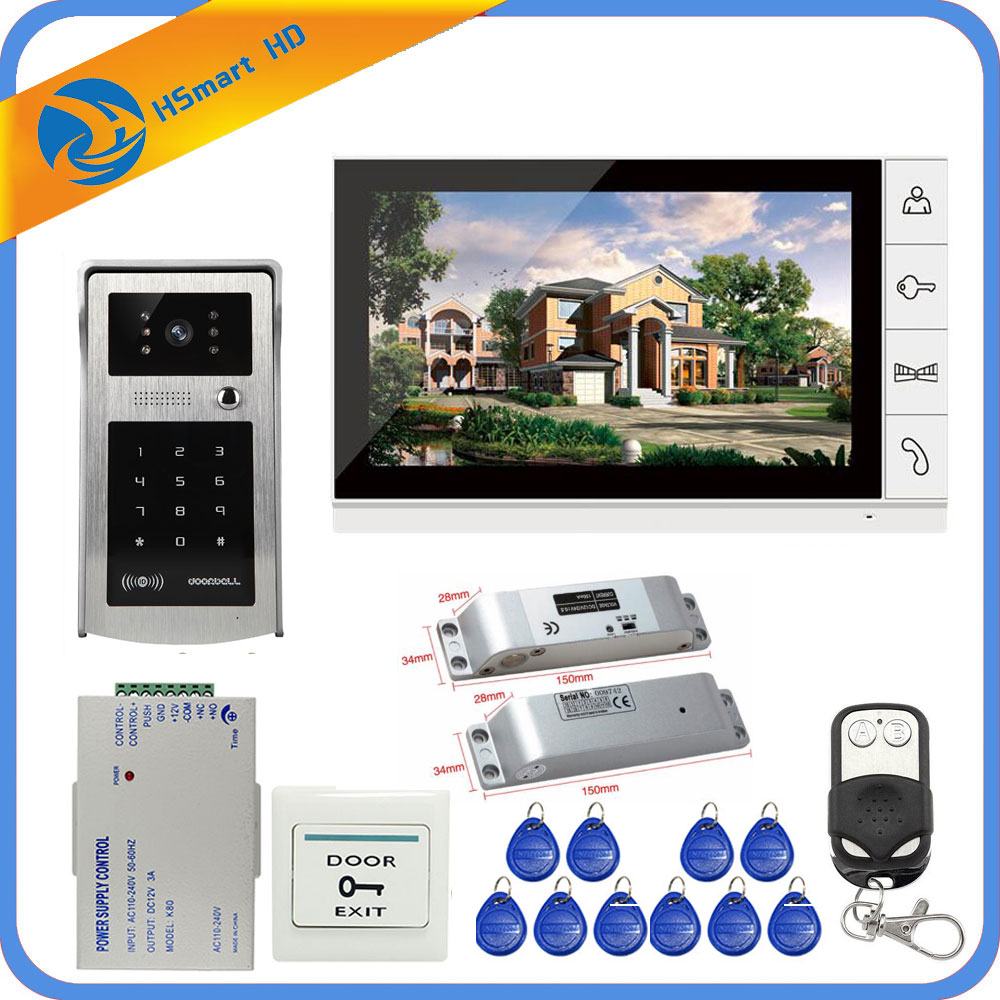 New 9inch Lcd Video Door Phone Intercom System+Electric Bolt Lock+ID Inductive Card Password Camera+Power Supply+Door Exit