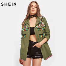 SHEIN Green Lapel Embroidered Yoke Tassel and Pom-Pom Trim Utility Jacket Zipper Casual Autumn 2017 Women Jacket