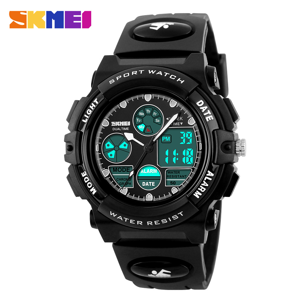 Skmei children watch sports diving watches dual display wristwatches led digital watch kids for Watches for kids