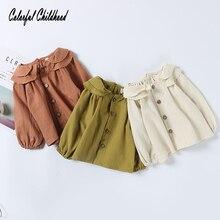 Милая блузка для маленьких девочек; Осенняя детская рубашка с длинными рукавами; 2 слоя; круглый воротник; дизайнерские топы для маленьких детей; хлопковая детская одежда
